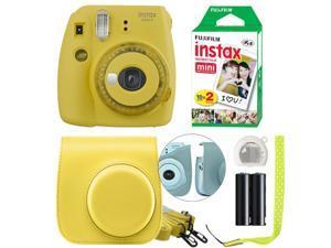 Fuji Instax Mini 9 Fujifilm Instant Film Camera Yellow + Case & 20 Film Sheets