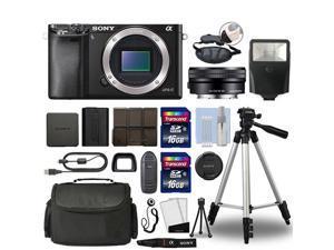 Sony Alpha a6000 Mirrorless Digital Camera with 16-50mm Lens Black + 32GB Bundle