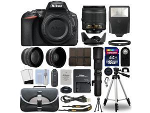 Nikon D5600 DSLR Camera + 4 Lens 18-55mm VR + 500mm + 16GB Telephoto Kit