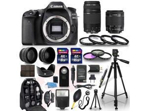 Canon EOS 80D Camera + 18-55mm stm + 70-300mm + 30 Piece Accessory Bundle