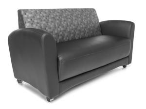 OFM Core Collection InterPlay Series Double Seating Sofa, Polyurethane with Fabric Back, in Black/Nickle (822-NCKL-PU606NT)