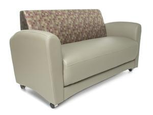 OFM Core Collection InterPlay Series Double Seating Sofa, Polyurethane with Fabric Back, in Taupe/Plum (822-PLUM-PU607NT)