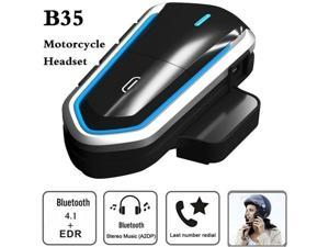 Motorcycle Helmet Bluetooth Headset with Universal Microphone Kit -Waterproof Wireless Moto Earpiece Transmitter Communication System