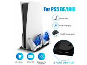 Vertical Stand Dual Controller Charging Dock + 2 USB Hub For PS5 DE/UHD Console