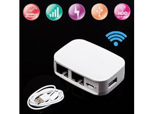 Portable Mini Router, 300Mbps USB Interface Two Ethernet Port 802.11 b/g/n Wifi Bridge Wireless Router