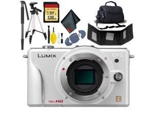 Panasonic Lumix DMC-GF2 Camera Body(W) - 128GB - Case XL - Tri + Monopod + More