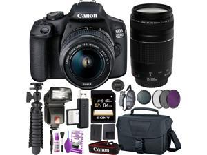 Canon EOS 2000D (Rebel t7) DSLR Camera and EF-S 18-55 mm f/3.5-5.6 IS II Lens + 75-300mm Telephoto Zoom Lens + 64GB Memory Card + Camera Bag + Cleaning Kit + Table Tripod + Flash