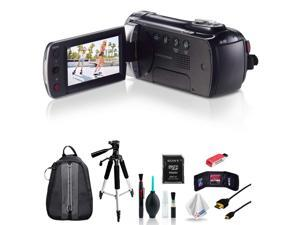 Samsung HMX-F90 Black Camcorder + Full-Size Aluminum Tripod + Deluxe Padded Backpack with Accessories Bundle