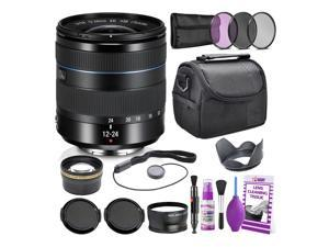 Samsung 12-24mm f/4-5.6 ED Wide-Angle Zoom Lens NX Mount + Warranty + Cleaning Kit + Case + Accessories Bundle