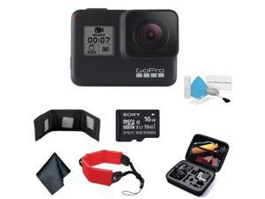 GoPro HERO7 (Black) Waterproof Digital Action Camera with Touch Screen 4K HD Video 12MP Photos Live Streaming Stabilization - Bundle with 16GB Memory Card + Floating Wrist Strap