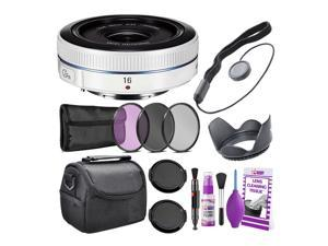 Samsung 16mm f/2.4 Ultra Wide Pancake Lens (White) NX Mount + Warranty + Cleaning Kit + Case + Accessories Bundle