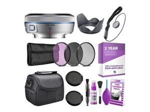 Samsung 20mm f/2.8 Wide-Angle Pancake Lens (Silver) NX Mount + Warranty + Cleaning Kit + Case + Accessories Bundle