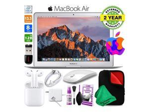 13 Inch MacBook Air 128GB SSD Intel Core i5 (Mid 2017, Silver) MQD32LL/A Laptop Computer Bundle Includes Wireless Mouse, USB Flash Drive, Fitted Case, 2-Year Warranty, and AirPods (1st Gen)