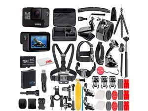 GoPro HERO7 Black -  With 64GB Micro Sd Card and 50 Piece Accessory Kit - Fully Loaded Bundle