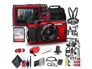 Olympus Tough TG-6 Waterproof Camera (Red) - Action Bundle - With 50 Piece Accessory Kit +  Extra Battery + Float Strap + Sandisk 64GB Ultra Memory Card + Padded Case + More