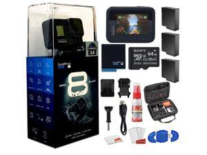GoPro HERO8 Black Digital Action Camera - Waterproof, Touch Screen, 4K UHD Video, 12MP Photos Live Streaming, Stabilization - With Cleaning Set + Case + 64GB Memory Card and 3 x Extra Batteries