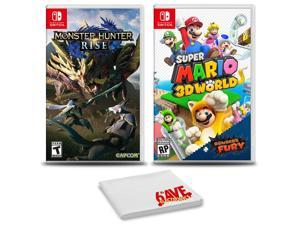 Monster Hunter Rise and SuperMario 3D World - 2 Games For Nintendo Switch