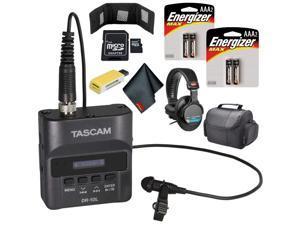 Tascam DR-10L Digital Audio Recorder with Lavalier Mic (White) Pro Bundle