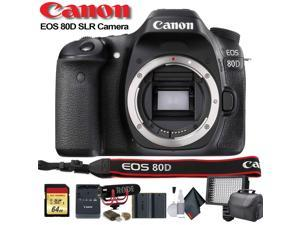 Canon EOS 80D DSLR Camera (Intl Model) (1263C004) W/ Bag, Extra Battery, LED Light, Mic, Filters and More - Advanced Bundle