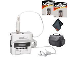 Tascam DR-10L Digital Audio Recorder with Lavalier Mic (White) Basic Bundle
