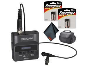 Tascam DR-10L Digital Audio Recorder with Lavalier Mic (Black) Basic Bundle