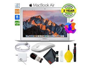 13 Inch MacBook Air 256GB SSD Intel Core i5 (Mid 2017, Silver) MQD42LL/A Laptop Computer Bundle Includes Wireless Mouse, USB Flash Drive, 2-Year Warranty, and Cleaning Kit