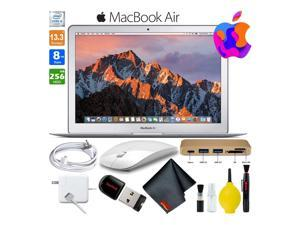 13 Inch MacBook Air 256GB SSD Intel Core i5 (Mid 2017, Silver) MQD42LL/A Laptop Computer Bundle Includes Wireless Mouse, USB Flash Drive, USB 3.0 3-In-1 Hub, and Cleaning Kit