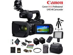 Canon XA55 Professional UHD 4K Camcorder W/ Extra Battery, Soft Padded Bag, 64GB Memory Card, LED Light, UV Filter, Tripod And More Starter Bundle