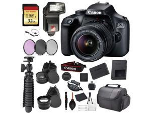 Canon EOS Rebel 4000D Digital SLR Camera with EF-S 18-55mm f/3.5-5.6 DC III Lens Kit (Rebel T100) Accessory Bundle Package with: 32gb SD Card + 3pc Filter Kit + DSLR Bag + More - Intl Model