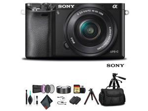 Sony Alpha a6000 Mirrorless Camera with 16-50mm Lens Black With Soft Bag, Additional Battery, 64GB Memory Card, Card Reader , Plus Essential Accessories