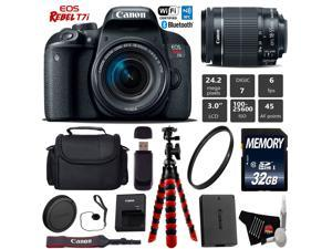 Canon EOS 77D DSLR Camera with 18-55mm is STM Lens + UV Protection Filter + Flexible Tripod + Professional Case + Card Reader - Intl Model