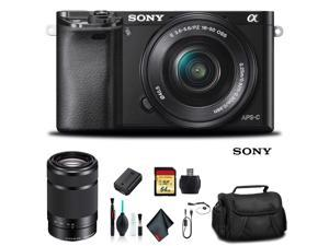 Sony Alpha a6000 Mirrorless Camera with 16-50mm and 55-210mm Lenses ILCE6000Y/B With Soft Bag, 64GB Memory Card, Card Reader , Plus Essential Accessories
