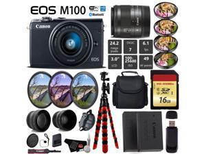 Canon EOS M100 Mirrorless Digital Camera (Black) with 15-45mm Lens + UV FLD CPL Filter Kit + 4 PC Macro Kit + Wide Angle & Telephoto Lens + Camera Case + Tripod + Card Reader - International Version