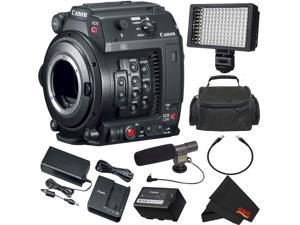 Canon EOS C200 Cinema Camera EF Mount 2215C002 Plus Bundle with Camcorder Case, LED Light, and Microphone