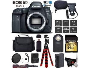 Canon EOS 6D Mark II DSLR Camera (Body Only) + Wireless Remote + Condenser Microphone + Case + Wrist Strap + Tripod + Card Reader - Intl Model