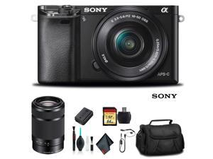 Sony Alpha a6000 Mirrorless Camera with 16-50mm and 55-210mm Lenses ILCE6000Y/B With Soft Bag, Additional Battery, 64GB Memory Card, Card Reader , Plus Essential Accessories