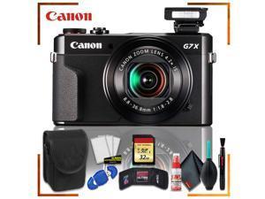 Canon PowerShot G7 X Mark II Digital Camera (Intl Model) + 32gb Memory SD Card Bundle + Camera Case + Cleaning Kit