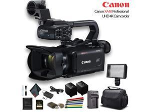 Canon XA40 Professional UHD 4K Camcorder W/ Extra Battery, Soft Padded Bag, 64GB Memory Card, LED Light, And More Base Bundle