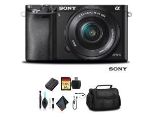Sony Alpha a6000 Mirrorless Camera with 16-50mm Lens Black With Soft Bag, 64GB Memory Card, Card Reader , Plus Essential Accessories
