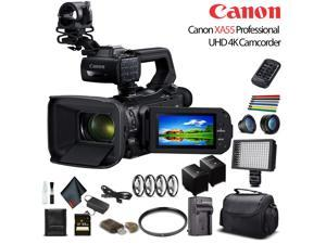 Canon XA55 Professional UHD 4K Camcorder W/ Extra Battery, Soft Padded Bag, 64GB Memory Card, LED Light, Close Up Diopters, Lenses, And More Advanced Bundle