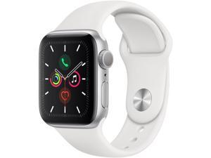 Apple Watch Series 5 (GPS Only, 40mm, Silver Aluminum, White Sport Band)