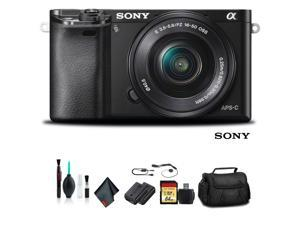 Sony Alpha a6000 Mirrorless Camera with 16-50mm Lens Black With Soft Bag, Tripod, Additional Battery, 64GB Memory Card, Card Reader , Plus Essential Accessories