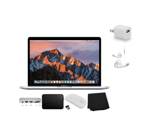 """Apple 13.3"""" MacBook Pro (Mid 2017, Silver) (MPXR2LL/A) + Travel USB 5V Wall Charger for iPhone/iPad (White) + iHip IP-IV-WH Fiber Cord Headphone with In-Line Microphone Bundle"""
