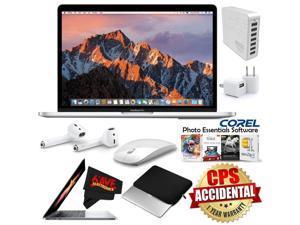 """Apple 13.3"""" MacBook Pro (Mid 2017, Silver) MPXR2LL/A + Apple AirPods Wireless Bluetooth Earphones + Travel USB 5V Wall Charger for iPhone/iPad (White) Bundle"""