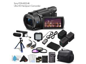 Sony FDR-AX53 4K Ultra HD Handycam Camcorder (Intl Model) 2 Extra Batteries + Case + 2 64GB Memory Cards + Tripod + Light and Microphone - Professional Bundle
