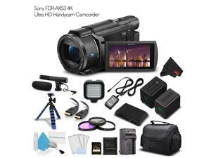 Sony FDR-AX53 4K Ultra HD Handycam Camcorder. (Intl Model) Extra Battery with Charger + 64GB Memory Card + Tripod + Light + Bag And More - Cinematographer Bundle