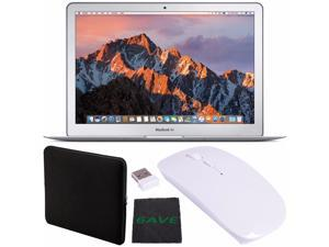 """Apple 13.3"""" MacBook Air 256GB SSD #MQD42LL/A + Padded Case For Macbook + Fibercloth + Ultra-Slim 2.4 GHz Optical Wireless Mouse with USB Nano Receiver For Laptop PC Macbook (White) Bundle"""
