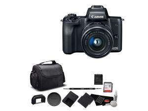Canon EOS M50 Mirrorless Digital Camera with 15-45mm Lens and 4K Video Bundle with 32GB Memory Card + Spare Battery + More - Intl Model
