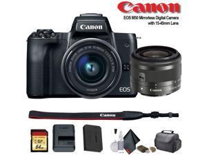Canon EOS M50 Mirrorless Digital Camera with 15-45mm Lens (Intl Model) (2680C011) - Starter Bundle