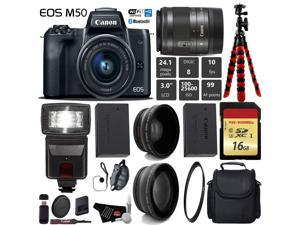 Canon EOS M50 Mirrorless Digital Camera with 15-45mm Lens + Flash + UV FLD CPL Filter Kit + Wide Angle & Telephoto Lens + Camera Case + Tripod + Card Reader - International Version